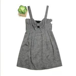NWOT Trina Turk 10 Gray Chambray Linen Bow Dress